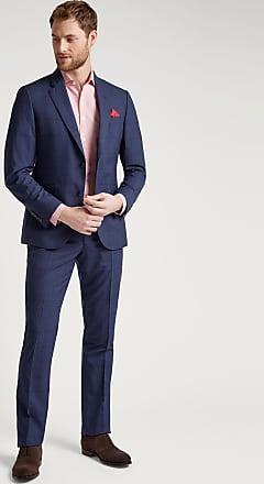 Hackett Mens Windowpane Check Wool Suit | Size 36Regular | Blue/Bgndy