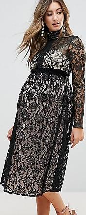 Little Mistress Maternity Allover Cutwork Lace Midi Dress-Black