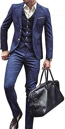 YYW Mens Suit 3-Piece Slim Fit Checked Blazer for Wedding,Party,Business and Work (XL) Blue