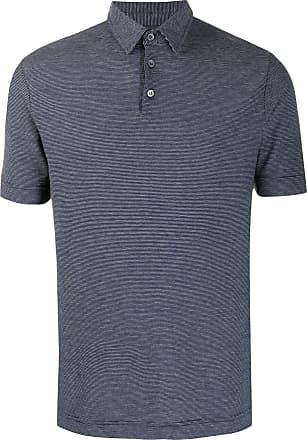 Zanone Camisa polo mangas curtas com listras - Azul