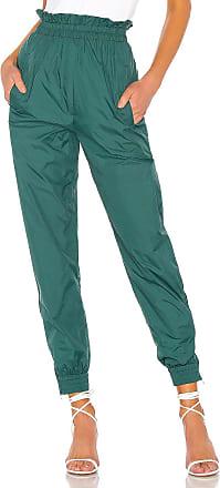 Tibi Nylon Paper Bag Jogger in Green