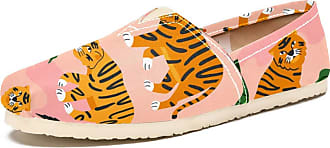 Tizorax Walking Tiger in The Jungle Mens Slip on Loafers Shoes Casual Canvas Flat Boat Shoe