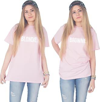 Sanfran Clothing Sanfran - Blondie Brownie Top Funny Matching Besties BFF Heart T-Shirt - Large & Large/Light Pink