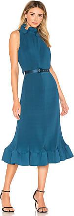 Tibi Pleated Sleeveless Dress in Teal