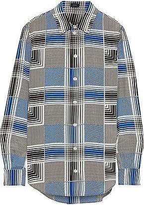 Joseph Joseph Woman Gars Checked Silk Crepe De Chine Shirt Gray Size 40
