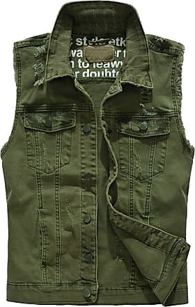 ZongSen Mens Denim Waistcoat Ripped Jeans Vest Sleeveless Outdoor Jacket Casual Gilet Top Green 2XL