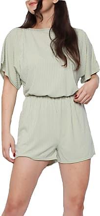 Momo & Ayat Fashions Ladies Ribbed Batwing Sleeve Playsuit UK Size 8-14 (Sage Green, UK 14 (EUR 42))