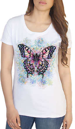 Irony Womens Top Beautiful Butterflies Splatter Paint Floral Print TS1140 (White, Large)