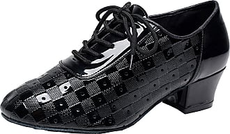 Find Nice Ladies Practice Latin Tango Rumba Cha-cha Block Heel Athletics Dance-Shoes Black 5.5 UK