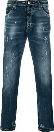 John Richmond Calça jeans reta com estampa - Azul