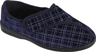 Zedzzz Mens Navy Check Velour Washable Touch Fastening Slipper - George - Navy Check - size UK Mens Size 6