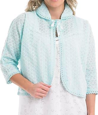 Slenderella Ladies Peter Pan Collar Bed Jacket Diamond Pattern Crochet Trim Cardigan - Small (Mint)