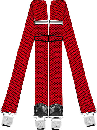 Decalen Mens Braces with Very Strong Clips Heavy Duty Suspenders One Size Fits All Wide Adjustable and Elastic X Style (Red)