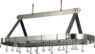 Old Dutch International Oval Hanging Pot Rack with Grid & 24 Hooks, Satin Nickel, 48 x 19 x 15.5