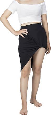 Lofbaz Womens Drape Up Stretchy Asymmetrical Short Mini Bodycon Pencil Skirt Solid Black M