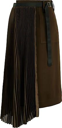 sacai Midirock mit Plisseedetail Khaki