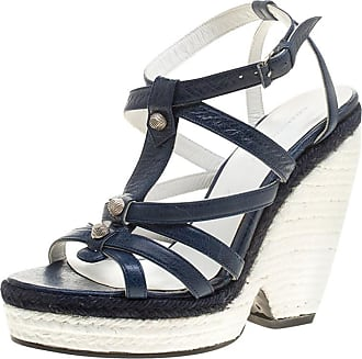 f7b6a7e49cd Balenciaga Blue white Leather Espadrille Wedge Sandals Size 38
