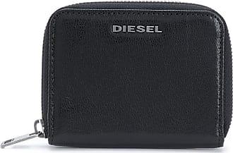 Diesel Carteira com placa de logo e zíper - Preto