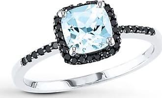 Kay Jewelers Aquamarine Ring 1/8 ct tw Black Diamonds 10K White Gold