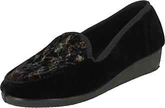 Spot On Ladies Slip On Floral Design Slipper Shoes - Black Textile - UK Size 7 - EU Size 40 - US Size 9