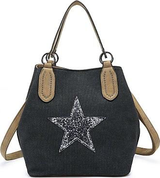 Craze London Womens Embellished Star Canvas Shoulder Bag Ladies Large Strap Shoulder bag