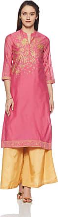 Biba Womens Straight Kurta (Summer E13519_PNK_34) Pink
