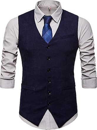 Whatlees Mens Slim Fit Tweed Vest with Double-Breasted Button Front Party Club Wedding Navy 02010005XNavy+XL