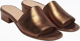agnès b. bronze metallic leather alma mules