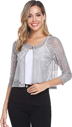 Abollria Shrugs for Women Lace Short Sleeve Evening Wedding Cover Up Bolero Cardigan Grey