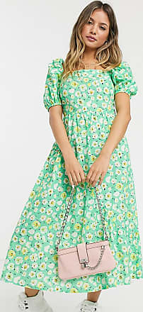 Reclaimed Vintage inspired midi dress with back detail and puff sleeve in floral print-Multi