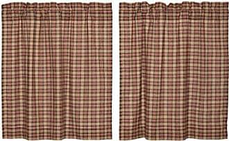 VHC Brands Primitive Kitchen Curtains Cinnamon Rod Pocket Cotton Hanging Loops Plaid 36x36 Tier Pair, Natural Tan