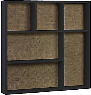 Urban Trends Collection Urban Trends Wood Square Wall Shelf with Burlap Backing and 6 Slots in Coated Matte Finish, Black