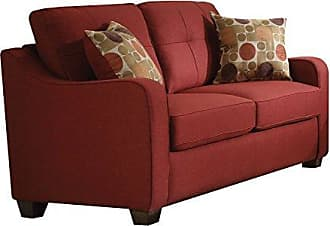 ACME 53561 Cleavon II Loveseat with 2 Pillows, Red Linen