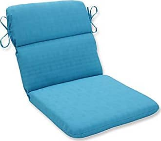 Pillow Perfect Outdoor Veranda Turquoise Rounded Corners Chair Cushion