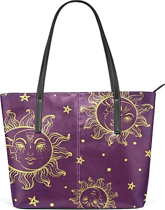 NaiiaN Purse Shopping Tote Bag Light Weight Strap Shoulder Bags Handbags Wildlife Leather Sun Moon Face Star for Women Girls Ladies Student