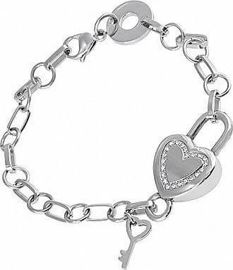 1c2c6ba24 Zales Diamond Accent Heart and Key Charm Bracelet in Stainless Steel - 7.5