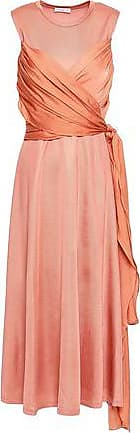 Sandro Sandro Woman Trudy Stretch-knit And Voile Midi Dress Peach Size 40