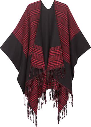 Sakkas 1927 - Avi Womens Reversible Open Front Poncho Cardigan Ruana Cape Shawl W/Fringe - Gingham Red - OS