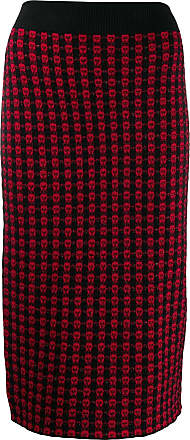 Red Valentino jacquard knit fitted skirt - Vermelho