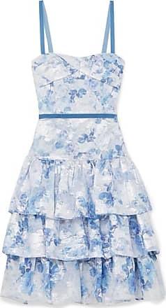 Marchesa Tiered Metallic Fil Coupé Tulle Dress - Light blue