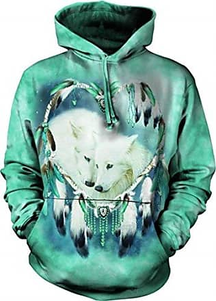 The Mountain Wolf Heart Hoodie, Large, Teal