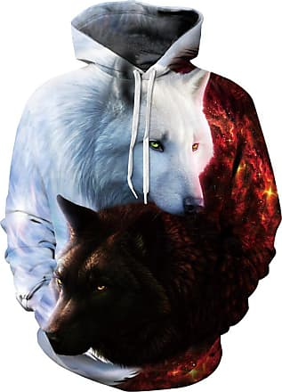 EUDOLAH 3D Prints Pullover Jumpers Breathable Hoodies Patterned Sweatshirts for Mens Size S M L XL 2XL 3XL (2XL/3XL, White Black Wolf)