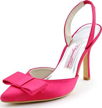 Elegantpark HC1404 Women Pointy Toe Sandals High Heels Slingback Bow Satin Wedding Party Court Shoes Hot Pink UK 6