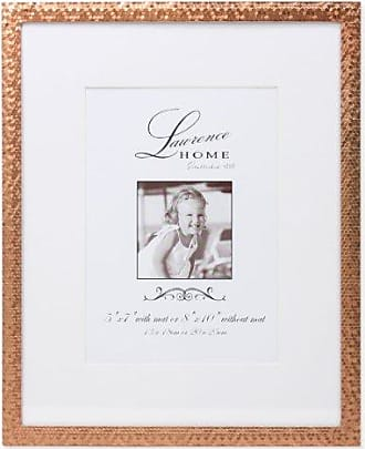 Lawrence Frames Rose Shimmer Metal, Holds 5 by 7-Inch Picture Frame with Mat and 8 by 10-Inch without Mat, Gold