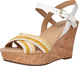 Naturalizer Womens Zia2 Yellow White Ankle Straps 4.5 M