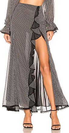 Jonathan Simkhai Gingham Ruffle Slit Maxi Skirt in Black