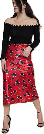 Momo & Ayat Fashions Ladies Floral Bias Satin Midi Skirt UK Size 8-14 (Red, L (UK 12/EUR 40))
