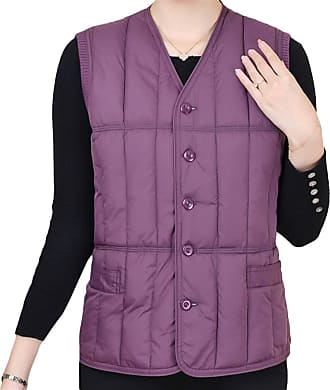 ICEGREY Womens Button Down Vest Jacket V-Neck Quilted Gilet Light Purple 16