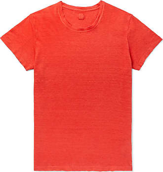 120% CASHMERE Slim-fit Garment-dyed Linen T-shirt - Red