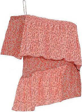b661e279df61 Joie Joie Woman Jakinda One-shoulder Ruffled Printed Silk-gauze Top Coral  Size XXS